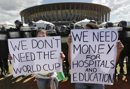 Protesters at the Confederations Cup made their opinions known this past June